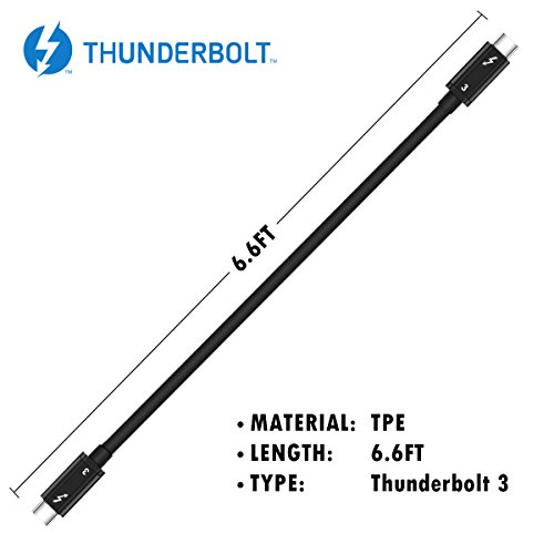 [Intel Thunderbolt 3 Certified] Mantiz 40Gbps Thunderbolt 3 Cable in Black Supporting 100W Charging 6.6 Feet for MacBook Pro and others (Not Compatible with USB-C ports without the Thunderbolt Logo) by Mantiz (Image #3)