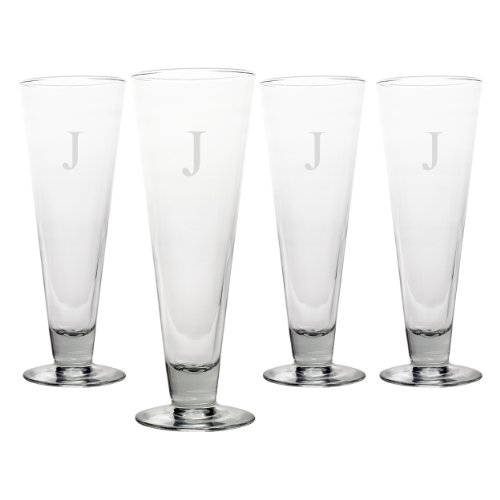 Engraved Classic Pilsner Glass (Cathy's Concepts Personalized Classic Pilsners, Set of 4, Letter J)