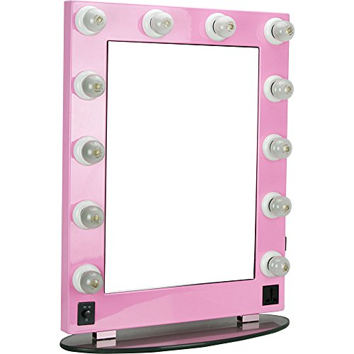 Hiker Marzo Hollywood Vanity Lighted Makeup Mirror, Pink, 16 - Com Pink Mirror
