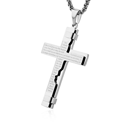HZMAN Religion Cross Lord's Prayer Stainless Steel Pendant Necklace Rolo Cable Wheat Chain (Silver)