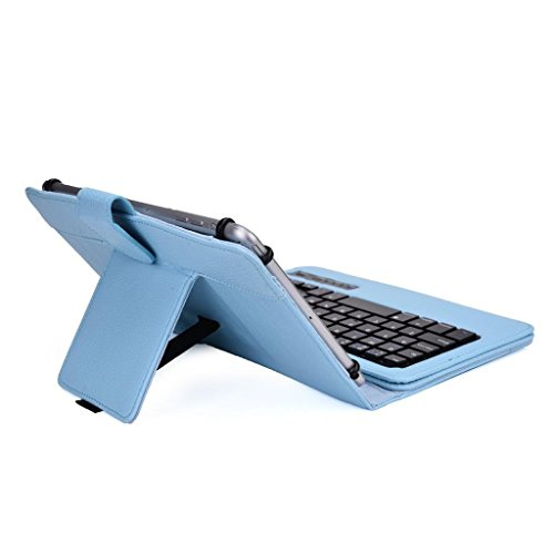 Tsmine Nextbook Ares 8 Tablet Wireless Keyboard Case - Universal 2-in-1 Detachable Wireless keyboard [QWERTY] w/Folio Leather Case Stand Cover [NOT include Tablet], Light Blue by Tsmine (Image #4)