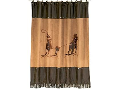 Amazon HiEnd Accents Team Roping Western Shower Curtain Home