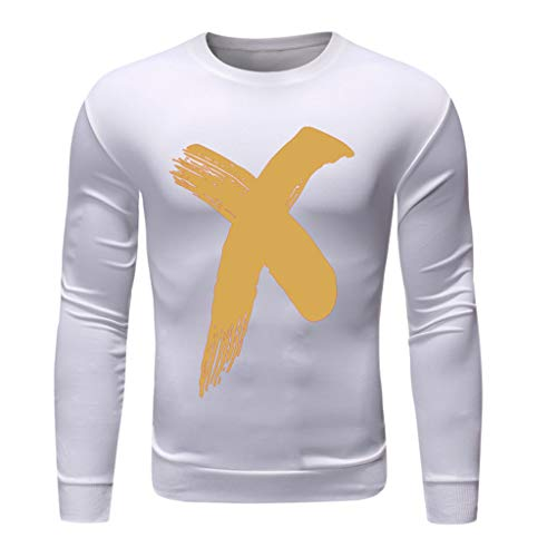 Men's Fashion Long-Sleeved Round Neck Solid Color Printing Sweater Tops Blouse, MmNote ()