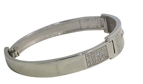 925 Solid Sterling Silver Bangle Bracelet Beautiful Intricately Made Cz Bracelet AUDI AND JAGUAR DESIGN FR21 (AUDI) by JANIZZ (Image #1)