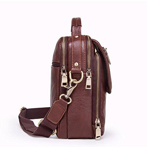 hombres Brown marrón Satchel multifuncional es moda 18 Enkephalin Surnoy cuero pulgadas cuero marrón de de Bolso de casual gvqR8