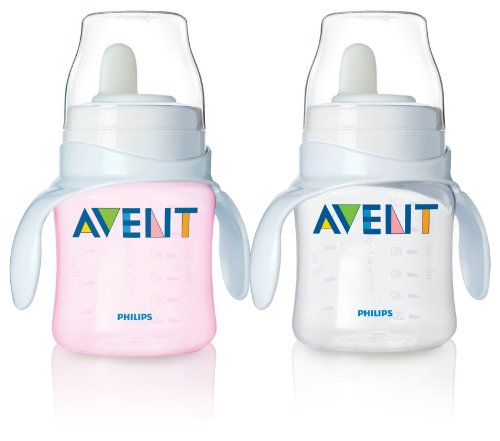 Philips Avent Bottle to First Cup Trainer 4 Months and Up - Pink/Clear (2 Pack)