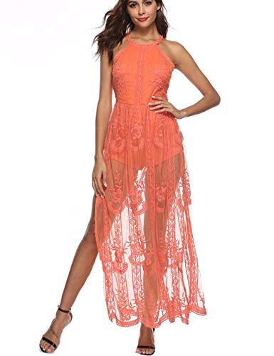 BOMBAXCEIBA Women Halter Neck Lace Floral Cotton Maxi Romper Maxi Long Dress (M, Orange) ()