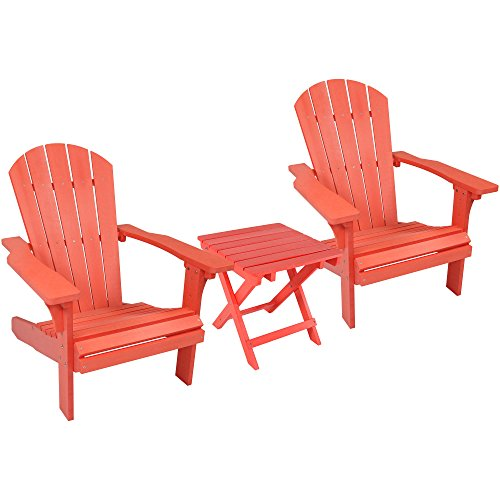 Sunnydaze All-Weather Adirondack Chair Set of 2 with Folding Side Table, Faux Wood Design, ()