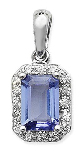 0,10ct Diamant et tanzanite 0,68CT or blanc 9carats Pendentif octogone
