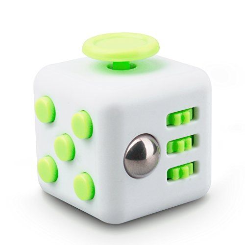 QQPOW Cube Relieve Stress for Adults Children Anxiety Attention Relieves Stress and Anxiety Release Stress Toy (White and Green)