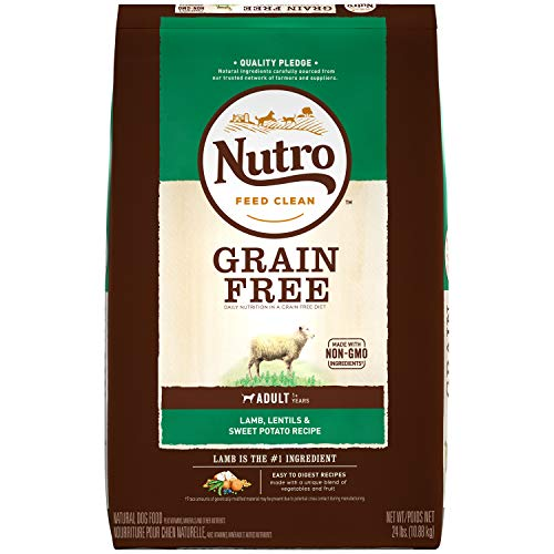 NUTRO GRAIN FREE Natural Adult Dry Dog Food Lamb, Lentils and Sweet Potato, 24 lb. Bag