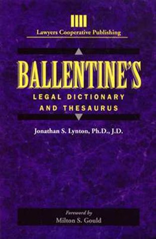 Pdf Law Ballentine's Legal Dictionary/Thesaurus (General Business & Business Ed.)