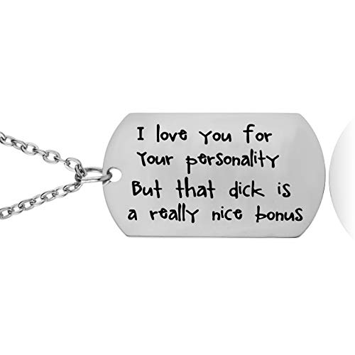YEEQIN Funny Gifts for Boyfriend Husband Personalized Dog Tag Pendant Necklace Naughty Words Keychain Gift for Men (I Love You -
