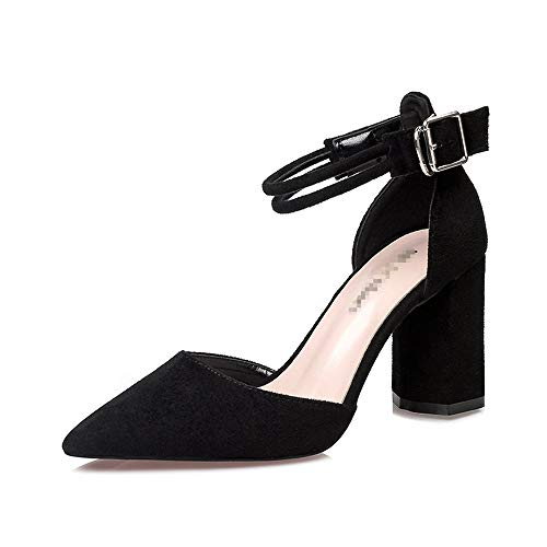 Womens Pumps Strap Black Ankle Dress Renly Shoes Suede Party Work dwSBSA