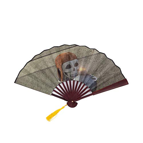 SGFDH Antique Hand Fan Clash of Clans Fantasy Fighting Family Action Adve with Bamboo Frame Tassel Pendant and Cloth Bag Hand Held Folding Fans for Women Travel Hand Held Fan Chinese Fan Paper