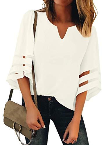 Women's 3/4 Bell Sleeve Henley V Neck Mesh Panel Blouse Summer Casual Loose Tops Shirt White Medium