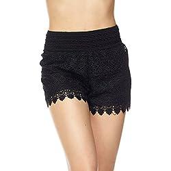 ToBeInStyle Women's Crochet Style 2 Lace Shorts - Black - Large