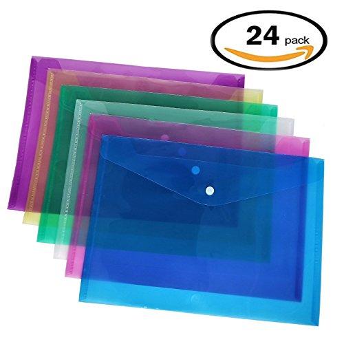 Premium Envelope Poly Envelope Plastic Envelopes With Snap Button Quality Clear Document Folder for A4 Size (24 Filling Envelopes)