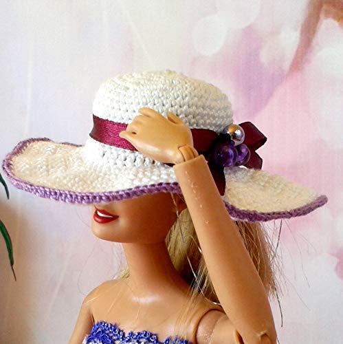 Amazoncom 12 Inch Size Doll Hat Handmade Crochet Miniature White