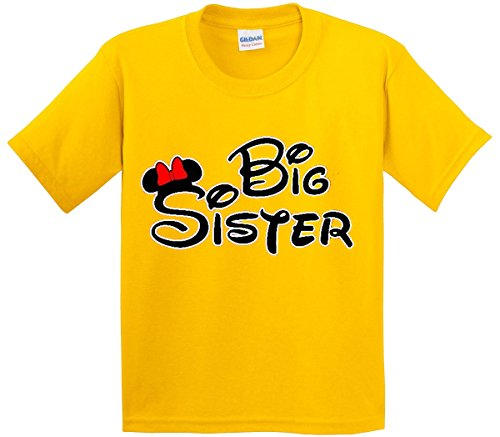 New Way 554 - Youth T-Shirt Mickey Mouse Big Sister XL Daisy Yellow