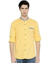 PIVOTO Men Orange Slim Fit Solid Casual Shirt