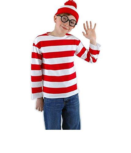 [Maconaz Where's Waldo Kids Costume Kit-Kids-Medium] (Where's Waldo Child Costumes Kit)