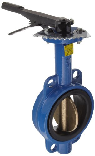 Dixon BBFVW400 Ductile Iron Wafer Style Butterfly Valve with Aluminum Bronze Disc and Buna-N liner, 4