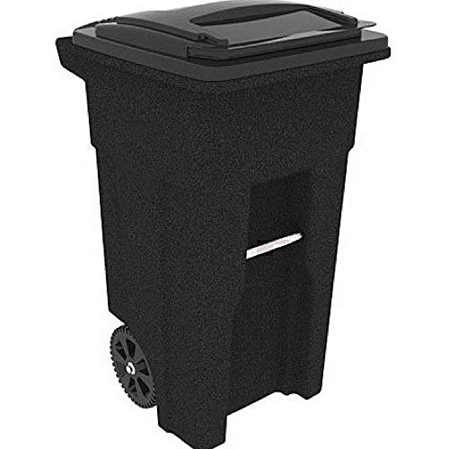 Rollout Trash Can Cart Outdoor Heavy Duty Waste Bin 32 Gal Garbage Container with Lid Wheatherproof Sturdy Easy Maneuverability Garage Yard Waste Management & eBook by BADA Shop (Garbage Management Collection Waste)