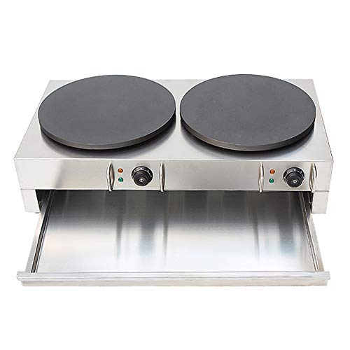 Wotefusi Electric Crepe Machine Griddle Commercial Snack Machine Electric Hot Plate (Double plates) 110V by Wotefusi (Image #1)