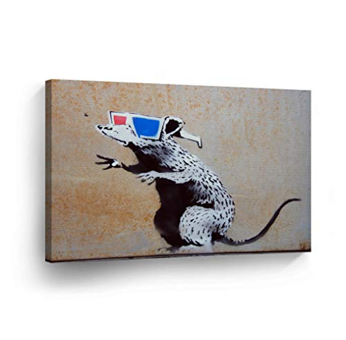 SmileArtDesign Banksy Canvas Print Rat with 3D Glasses Banksy Wall Art Home Decor Decorative Artwork Stretched Ready to Hang%100 Made in The USA 8x12 (Rat Pack Artwork)
