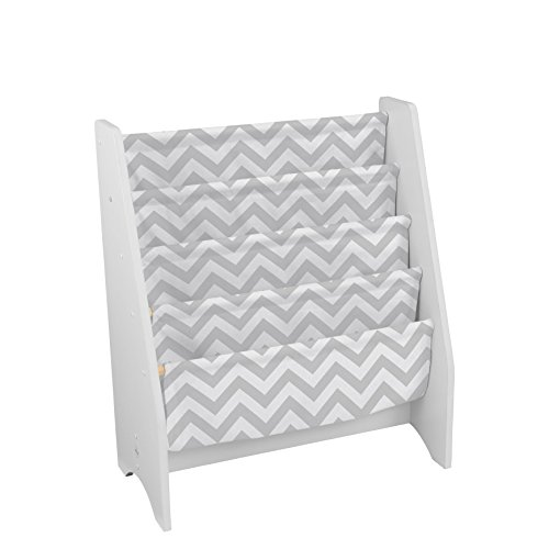 KidKraft Wooden Sling Bookcase - Gray & White- Sturdy Canvas Fabric, Chevron Pattern, Kids Bookshelf, Young Reader Support (Baby Bookcase)