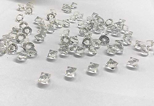 ZYMY 1000PCS Clear Glass Diamonds,10mm Crystal Gems Pirate Treasure Fake Diamond Wedding Favor Decorations Vase Fillers White ()