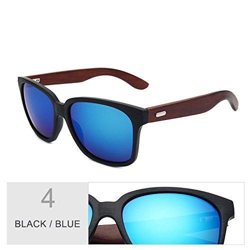 Black de negro piernas de azul Sunglasses Blue de granos espejo similar Gafas Unisex con en madera gafas el clásicas nogal acetato sol de TL RBqFfn6R