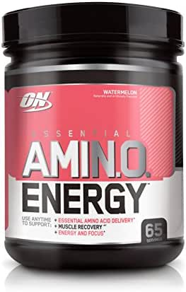 OPTIMUM NUTRITION ESSENTIAL AMINO ENERGY, Watermelon, Keto Friendly BCAAs, Preworkout with Green Tea and Green Coffee Extract, 65 Servings