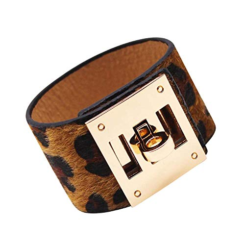 (Designer Inspired Wide Cuff Leopard Print Leather Wrap Bracelet Unisex 23cm 9 inch Length (Brown) )