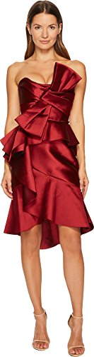 Marchesa Women's Strapless Mikado Cocktail Bow Dress Merlot 10 ()