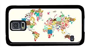 Floral World Map Theme Samsung Galaxy S5 i9600 Case by runtopwell