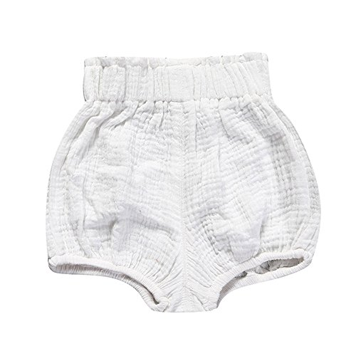 Birdfly Toddler Baby Basic Bloomers Diaper Cover Infant Boys Girls Bottom Shorts Cotton Clothes (18M, White) by Birdfly (Image #1)