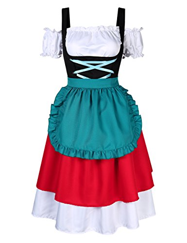 Aoile Women's German Dirndl Dress Costumes for Bavarian Oktoberfest Carnival Halloween,Retro Color Block Stylish Cold Shoulder Ruched Midi Dress -