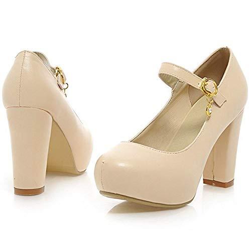 Bloc Chaussures Escarpins Jane TAOFFEN Beige Femmes Mary Talon TxqxE4wA