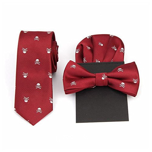 - Hello Tie Unisex Skull & Crossbones Polyester Skinny Tie with Pocket Square and Bow tie Sets