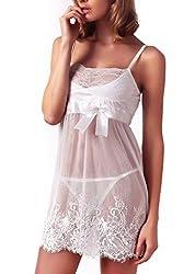 Ruzishun Lingerie White Lace Nightwear Perspective Sleepwear Underwear (White, M)