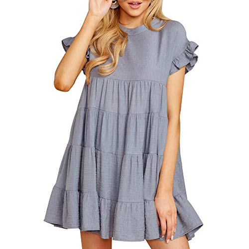 Joteisy Women's O Neck Ruffle Short Sleeve Tiered Casual Mini Dress (XL, Grey)