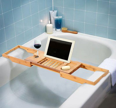 Amazon.com: Bathtub Rack Bamboo Shelf Shower Tub Book Reading Tray ...