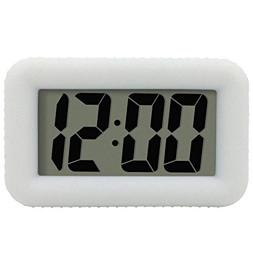Table Electronic Clock with Rubber Case Display Time/Alarm, Snooze/Backlight, Adjustable Light Dimmer Battery Bedside Desk/Shelf Clock for Kids/Teens/Home/Office/Travel, White ()