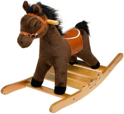 Melissa Doug Plush Rocking Horse – Wooden Base and Handles Plus Saddle and Harness