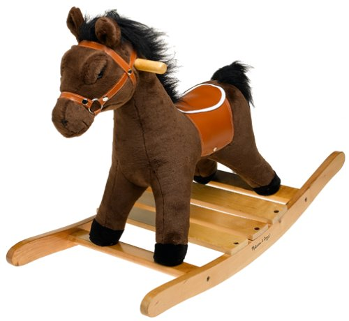 Melissa & Doug Plush Rocking Horse - Wooden Base and Handles Plus Saddle and (Wood N Horse Ranch)