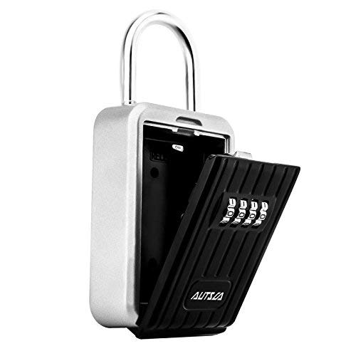 Key Lock Box, AUTSCA Key Storage Lock Box Aluminium Alloy Key Safe Box Weatherproof 4 Digit Combination for Indoors and Outdoors