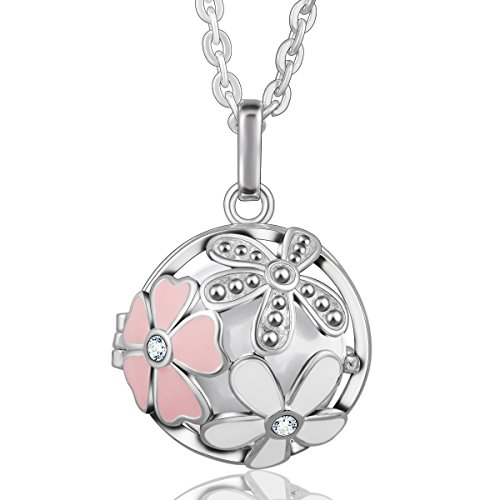 EUDORA Harmony Bola Summer Flower 20mm Musical Chime Pendant 30 inches Necklace Sphere Ball