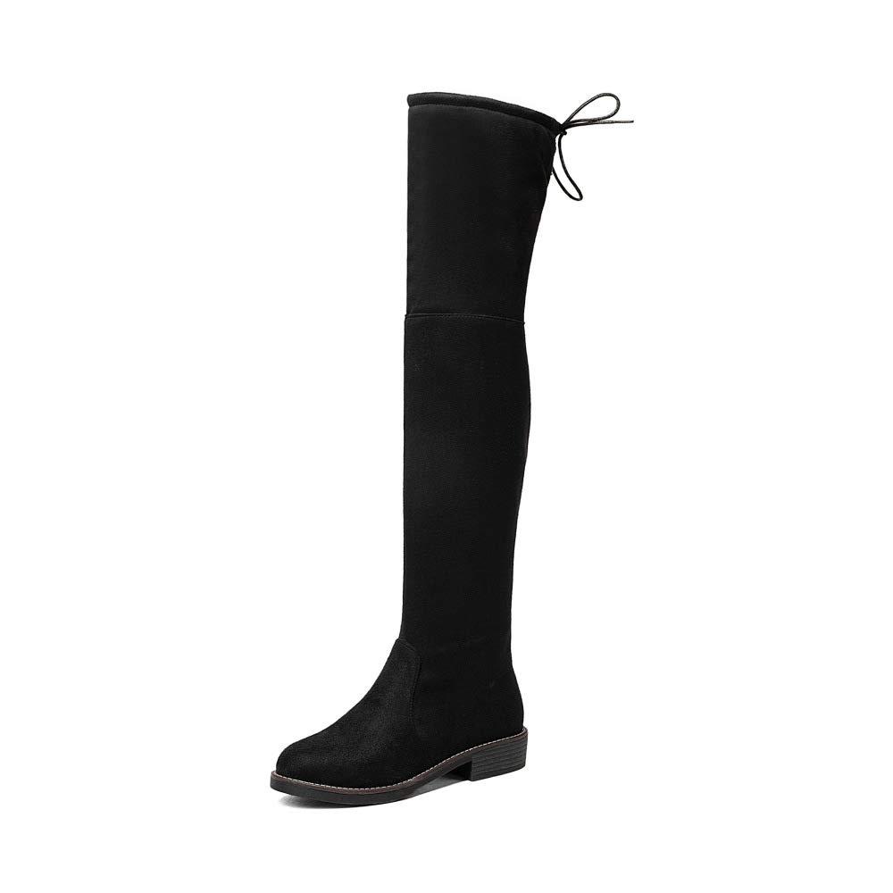 QINGMM Frauen Wildleder Über Die Knie Stiefel Britische Frauen Schuhe 2018 Winter Niedrige Ferse Ritter Stiefel Größe 40-43